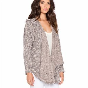 Bobi Boucle Hooded Open Front Cardigan in Grey